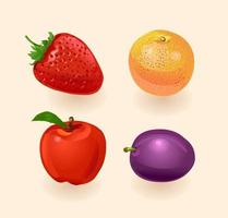 Fruit. Orange, peach, pear, grapes. Vector illustration isolated on white background