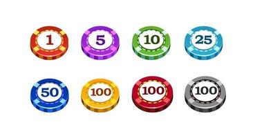 Casino chips of different colors and different denominations. Isolated. Vector illustration