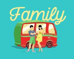 Young married couple on a background of a red car. A family. Vector illustration