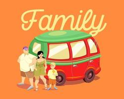 A family with a child stand near a red car. The inscription family. Lettering. Vector illustration