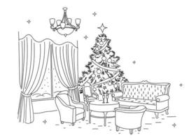 Happy New Year. Christmas. Cozy classic interior. Christmas tree. Linear drawing by hand. Vector illustration