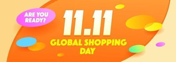 11.11 Shopping Day Concept Carnival Sale Poster, Banner, Flyer Design vector