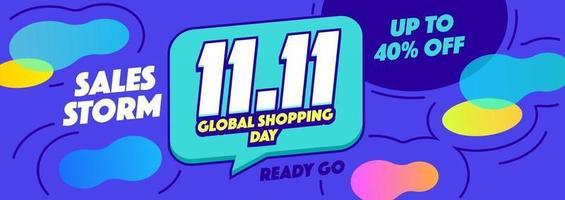 11.11 banner horizontal de venta comercial global o promoción sobre fondo azul vector