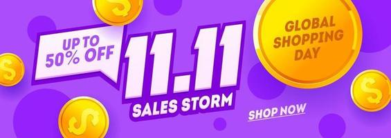 11.11 Shopping Day Purple Banner, Global Shopping World Day. Singles day sale flyer vector
