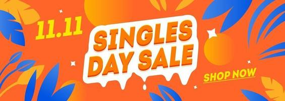 Singles day sale banner template vector