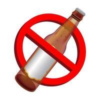 Señales de prohibición con botella de bebida de cerveza de alcohol vector