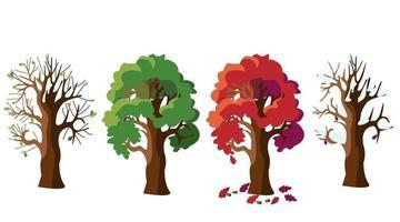 Oak tree in four versions. vector