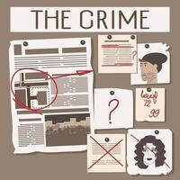en la pizarra de un detective una investigación criminal vector