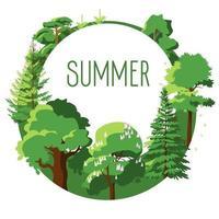 Seasonal card of summer trees vector
