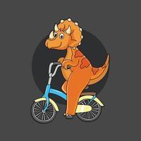 cute dinosaur riding a bicycle vector