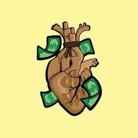 heart in a money bag shape vector illustration