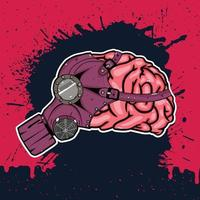 brain with gas mask vector