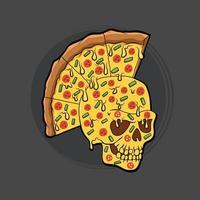 Horror skull pizza illustration vector