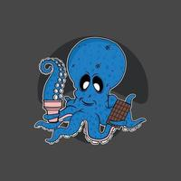 Octopus with ice-cream and chocolate vector illustration