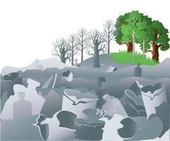 Widespread garbage pollution threatens nature vector