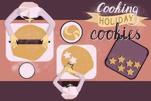 Mom and child baking together vector