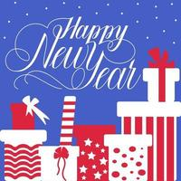 Greeting card with decorative inscription happy new year vector