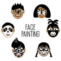 Faces of children in black and white face paint characters vector