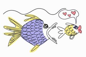 Funny illustration of line art. The fish dreamed of love, but danger lurks, another fish wants to eat it. vector