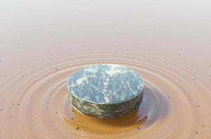 Soporte de producto de mármol verde sobre agua cristalina con olas debajo, representación 3d de maqueta foto
