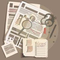 Detective items on the desktop vector