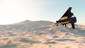 Abandoned and damaged piano on the beach with sand covering it, 3d illustration