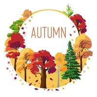 Seasonal card of autumn colorful trees with falling yellow and orange leaves vector