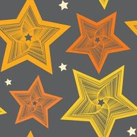 Seamless pattern of yellow unusual stars of different sizes vector
