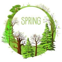 Seasonal card from spring trees vector