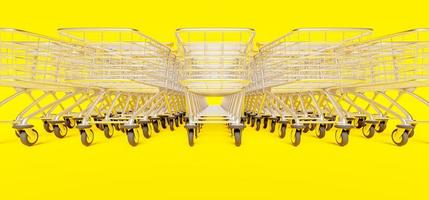Close-up of row of stacked shopping carts on yellow background, 3d render photo