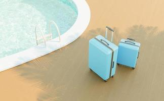Two blue suitcases next to the edge of a swimming pool with its stairs and a palm tree shadow, 3d render photo