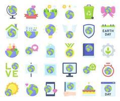 conjunto de iconos vectoriales relacionados con el día de la tierra 2, estilo plano vector
