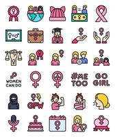 Feminism related filled icon set, vector illustration