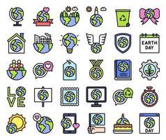 conjunto de iconos vectoriales relacionados con el día de la tierra 2, estilo relleno vector
