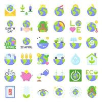 Earth Day related vector icon set 3, flat style