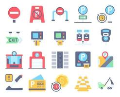 Parking lot related flat icon set 3, vector illustration
