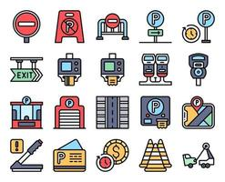 Parking lot related filled icon set 3, vector illustration