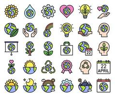 Earth Day related vector icon set, filled style