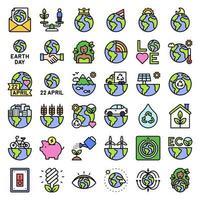 conjunto de iconos vectoriales relacionados con el día de la tierra 3, estilo relleno vector