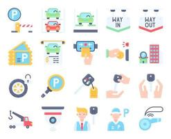 Parking lot related flat icon set 4, vector illustration