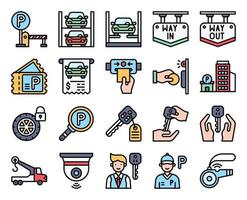 Parking lot related filled icon set 4, vector illustration
