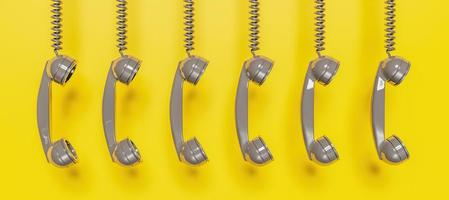 Banner of grey antique telephone headset hanging from cable on yellow background, 3d rendering