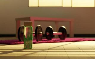 Green water bottle in living room with dumbbells and home exercise mat, 3d render photo