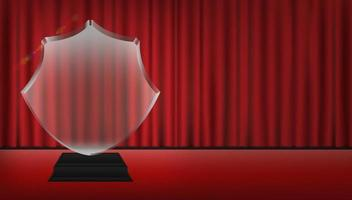real 3d transparent acrylic trophy with red curtain stage background vector