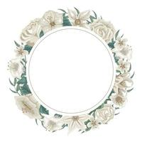 Watercolor leaves and flowers wreath vector