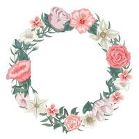 Wreath of roses, tulips and different flowers vector