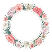 Wreath of roses, tulips and different flowers for dedication vector