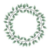 Watercolor leaves wreath vector