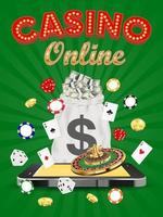casino online smartphone with dice card roulette vector