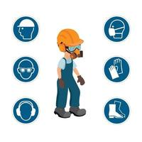 Worker with his personal protective equipment and security icons. vector